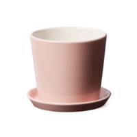 Flowerpot with saucer in pale pink